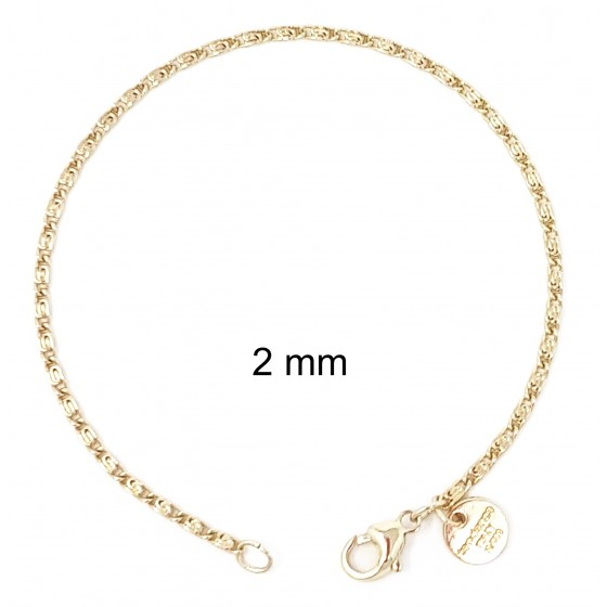 Bracelet S-Curb Chain Gold or Rosegold Plated or Doublé