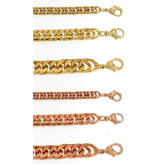 Bracelet Double-Curb Chain Gold or Rosegold Plated or Doublé