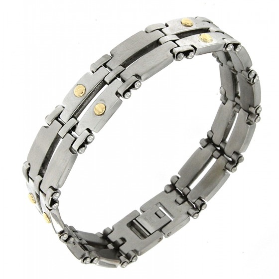 Mens Bracelet Stainless Steel 18 ct. Gold