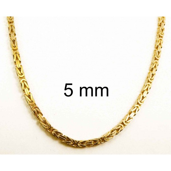 NECKLACE Byzantine CHAIN Gold Doublé Or Plated Men Women Gift Jewellery ITALY