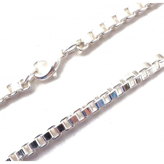 Bracelet Venetian Box Chain Silver Plated Men Women Gift Jewelry tendenze ITALY