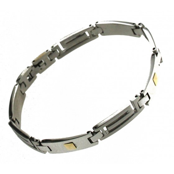 Mens Bracelet Stainless Steel Gold